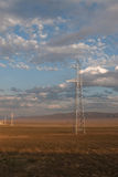 Power lines landscape in Kazakhstan steppe Stock Photos