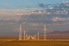 Power lines landscape in Kazakhstan steppe Stock Photo