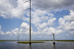 Power Lines & Marsh, Gulf Coast Royalty Free Stock Images