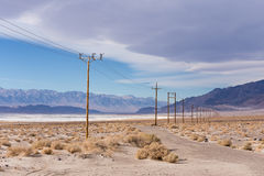 Power lines in Mojave desert Royalty Free Stock Images