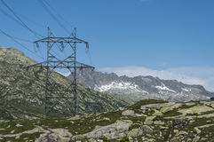 Power lines on mountain Royalty Free Stock Image