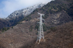 Power lines in the mountains Royalty Free Stock Image