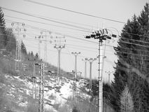 Power lines in the nature Royalty Free Stock Images