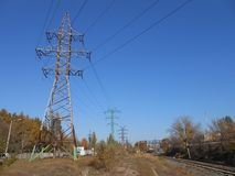 Power lines near the railway royalty free stock images