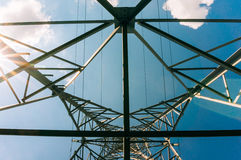 Power lines over stanchion  Royalty Free Stock Images