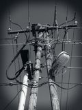 Power lines, Power cables, Electric line. Old power lines in Hungary Stock Images