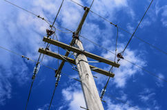Power lines for power pole electricity grid Royalty Free Stock Image