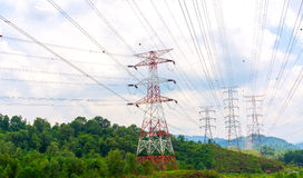 Power lines and pylons Royalty Free Stock Photography