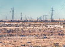 Power lines pylons Stock Photo