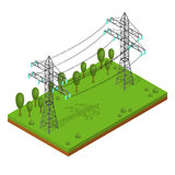 Power Lines Pylons. Vector. Power Lines Pylons. Landscape Support High Voltage. Isometric View. Vector illustration Royalty Free Stock Image