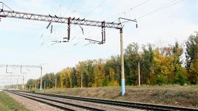 Power lines on the railway. Russia stock video footage