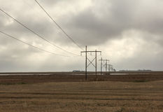 Power lines. Row of power lines on the prairies Royalty Free Stock Photos