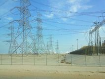 Power lines at Saudi Arabia. Power line, electricity Royalty Free Stock Photography