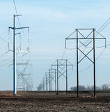 Converging Power Lines Stock Photography