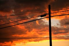 Free Power Lines Seen At Sunset Royalty Free Stock Photos - 3249158