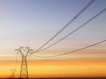 Power Lines at Sunset Royalty Free Stock Photos