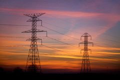 Power Lines At Sunset Royalty Free Stock Photo