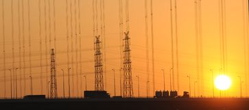 The power lines in sunset Royalty Free Stock Photography