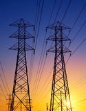Power Lines at Sunset Royalty Free Stock Images