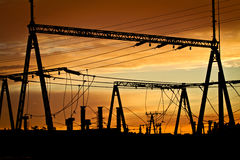 Power lines at sunset Stock Images