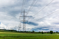 Power lines in the Swiss countryside Stock Photos