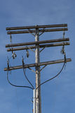 Power Lines on Telephone Pole Stock Photo