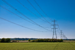 Power lines to infinity Stock Photos
