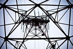 Power lines tower. With blue sky in background Stock Photo
