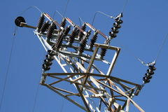 Power lines tower Royalty Free Stock Photos