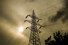 Power lines tower Royalty Free Stock Photo