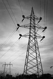 Power lines. And towers with cables Royalty Free Stock Photos