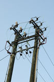 Power lines and transformer Royalty Free Stock Photography