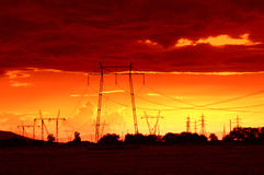 Power lines sunset Stock Photos