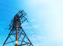Power lines, transmission line tower. Concept idea stock photos