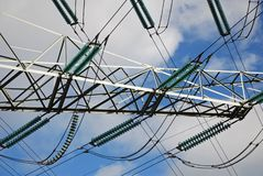 Power lines transmission tower Stock Photos
