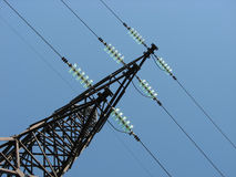 Power lines, unusual diagonal angle Royalty Free Stock Images