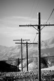 Power lines utility poles b&w Royalty Free Stock Photos