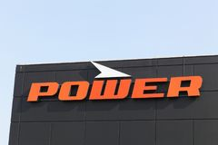 Power logo on a wall. Tilst, Denmark - April 20, 2018: Power logo on a wall. Power is a retail chain in consumer electronics and white goods in Denmark stock photography