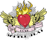 The Power of Love. A beautiful T-shirt design of a heart with wings on fire Stock Photography