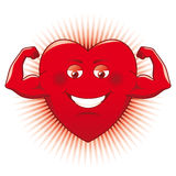 Power of Love. Cartooned heart showing its power vector illustration