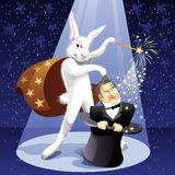 Power of Magic. White Rabbit-illusionist pulls out a magician from a hat stock illustration
