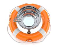Power magnifying glass with life buoy. On white background Stock Photography