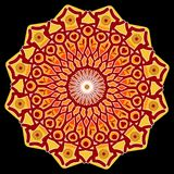 Power mandala, star shape in red, orange and yellow on black background, an aid to meditation Stock Image