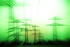 Power mast. Over land energy mast with metal cable Royalty Free Stock Photography