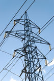 Power Mast. A complete power mast with six fixtures and power lines, seen from side Royalty Free Stock Photos