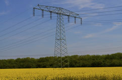 Power mast in filed Royalty Free Stock Photography