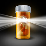 Power of Medicine. Success and a medication cure health care concept with pharmaceutical research in biotechnology as prescription pill bottle bursting with Stock Photography