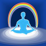 Power meditation. Illustration of the meditating person with a rainbow over head Stock Photos