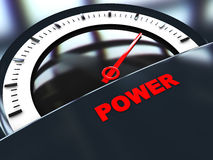 Power meter. Abstract 3d illustration of power scale with reflections, dark background Stock Image