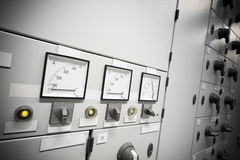 Power meter. A Electric Voltage And Amperage Control, black and white Royalty Free Stock Image
